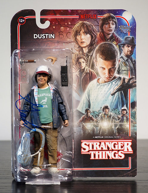 Stranger Things Dustin Packaged McFarlane Figure Signed By Gaten Matarazzo
