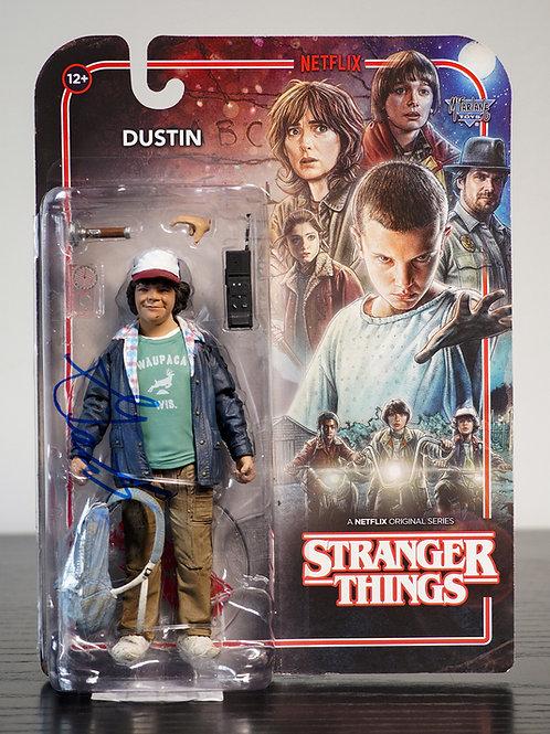 Stranger Things Dustin Packaged McFarlane Figure Signed By Gaten Matarazzo