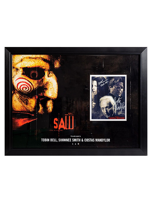 Saw Framed Print Signed by Tobin Bell, Shawnee Smith and Costas Mandylor