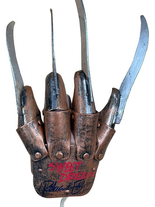 Freddy Krueger Plastic Glove Sweet Dreams Red & Black Signed by Robert Englund