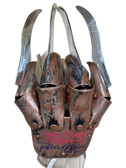 Freddy Krueger Plastic Glove This Is God Red & Black Signed by Robert Englund