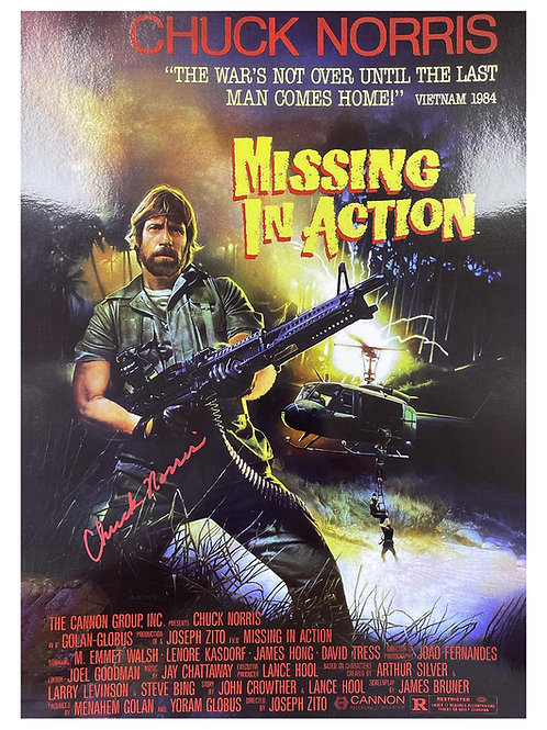 A3 Missing In Action Poster Signed by Chuck Norris