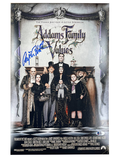 11x17 Addams Family Values Poster (Blue Pen) Signed by Anjelica Huston