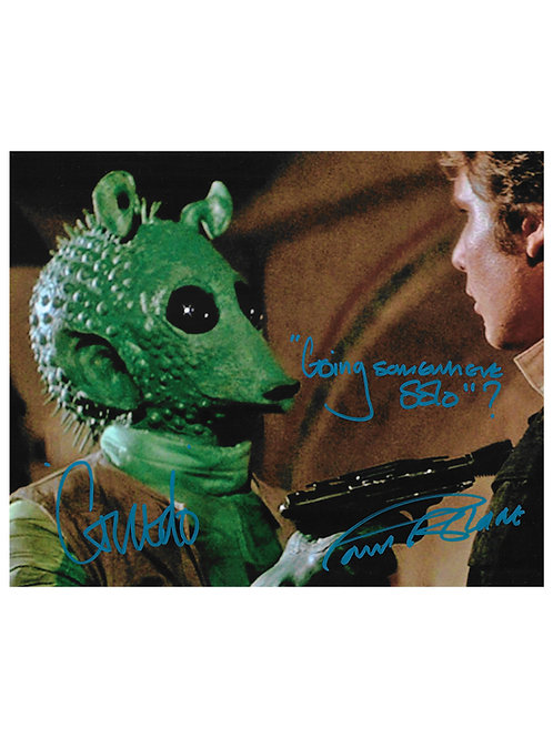 "10x8 Star Wars ""Going Somewhere Solo?"" Blue Greedo Print Signed by Paul Blake"