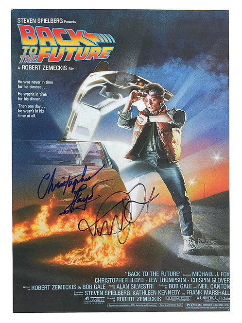 A3 Back to the Future Poster Signed in Blue & Black by M J Fox & C Lloyd
