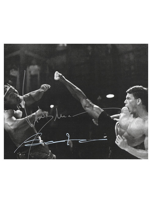 10x8 B&W Bloodsport Print Signed by JCVD & Bolo Yeung