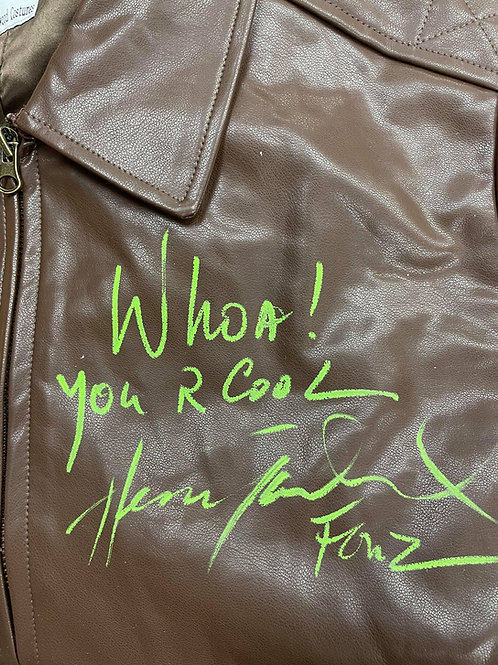 Woah! You R Cool Authentic Fonzie Leather Jacket Signed By Henry Winkler