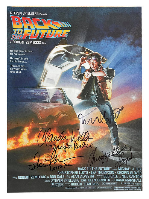 A3 Back to the Future Poster Signed by Fox, Lloyd, Thompson & Wells