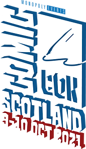 Comic Con Scotland 3D logo with 2021 dat