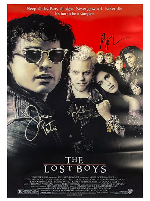 A2 The Lost Boys Poster Triple Signed by Sutherland, Patric & Winter