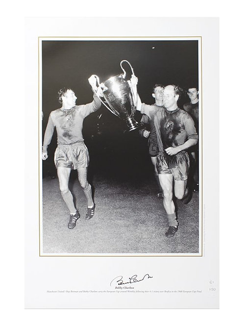 12x16 1968 Euro Cup Final Print Signed By Sir Bobby Charlton