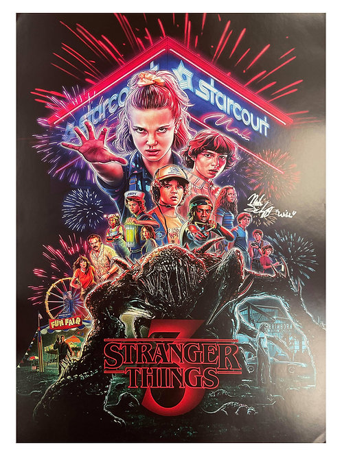 A2 Stranger Things S3 Poster Signed By Noah Schnapp
