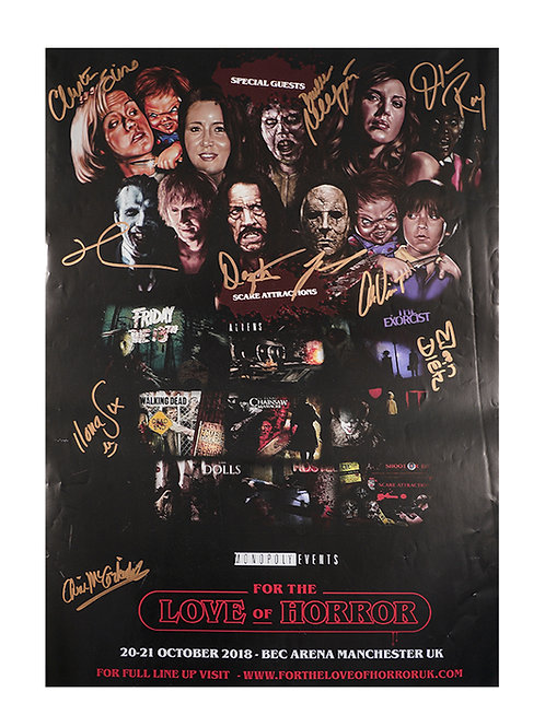 A3 For the Love of Horror 2018 Poster Signed by 10 Guests