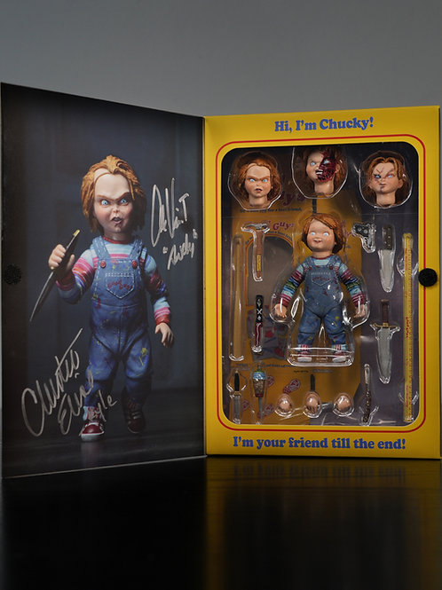 Child's Play Packaged NECA Chucky Figure Signed By Christine Elise Alex Vincent