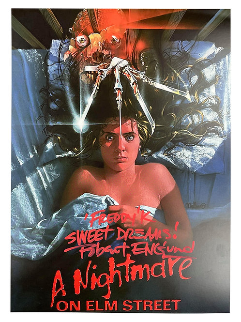 A3 Nightmare on Elm St Poster Red Sweet Dreams Quote Signed by Robert Englund