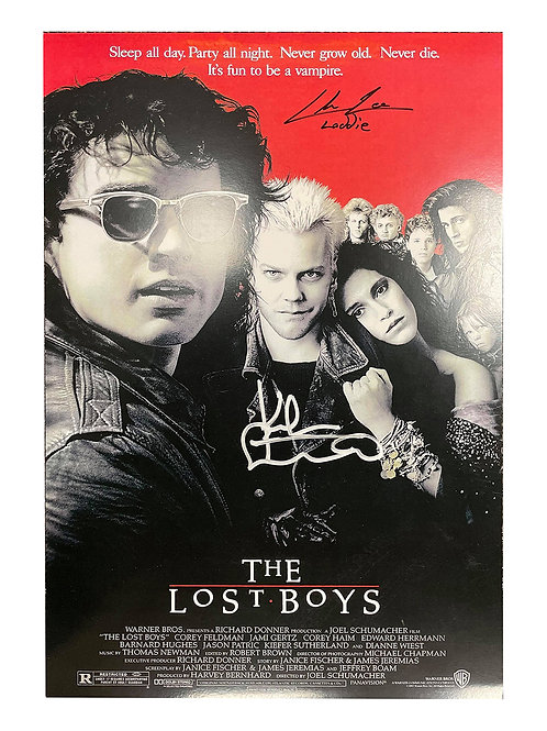 A3 The Lost Boys Poster Signed by Kiefer Sutherland & Chance Michael Corbitt