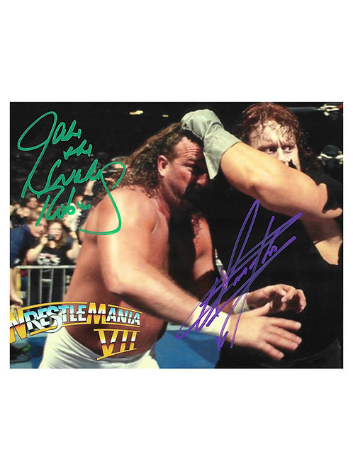 10x8 Print Signed in Dark Green by Jake The Snake Roberts & The Undertaker