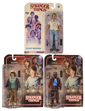 Stranger Things Hopper, Dustin & Lucas Figures Signed By David, Caleb & Gaten