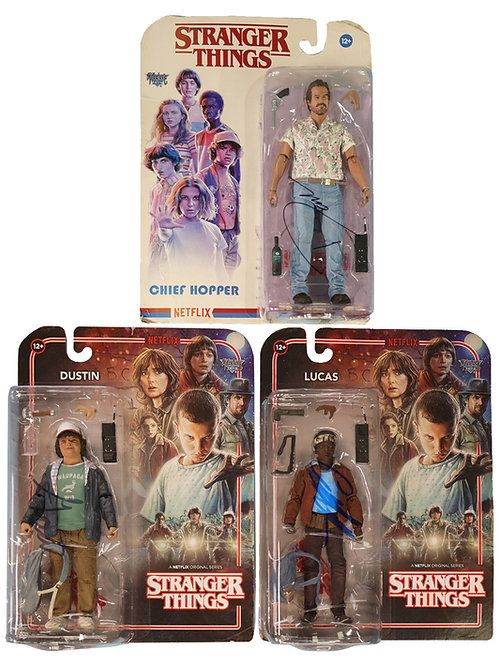 Stranger Things Hopper, Dustin & Lucas Figures Signed By David, Caleb & Gaten