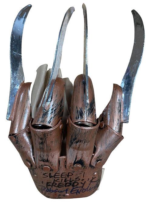 Freddy Krueger Plastic Glove Sleep Kills Black & Blue Signed by Robert Englund