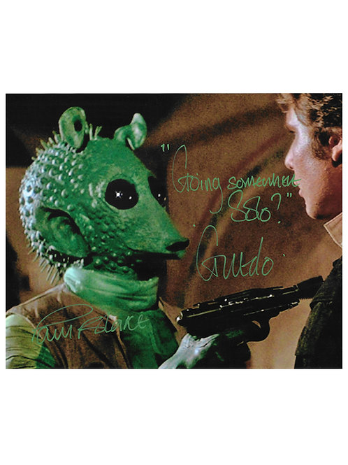 "10x8 Star Wars ""Going Somewhere Solo?"" Green Greedo Print Signed by Paul Blake"