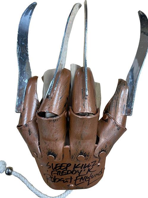 Freddy Krueger Plastic Replica Glove Sleep Killz Black Signed by Robert Englund