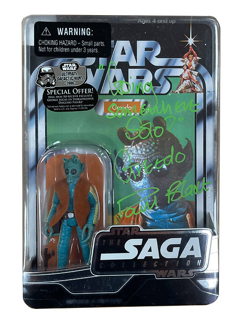 Star Wars Saga Collection Greedo Action Figure Signed By Paul Blake