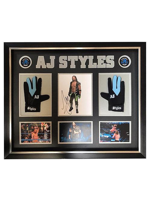 Framed  & Gloves Signed by Wrestling Superstar AJ Styles