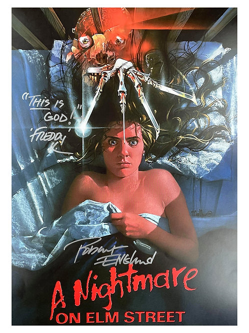 A3 Nightmare on Elm St Poster This Is God Quote Signed by Robert Englund