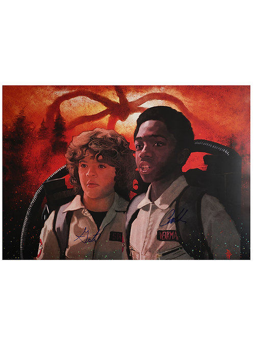 A2 Stranger Things Lucas & Dustin Illustrated Poster Signed By Caleb & Gaten