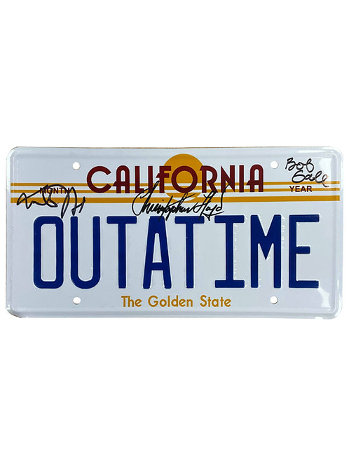 BTTF Number Plate Signed by Michael J Fox, Christopher Lloyd & Bob Gale