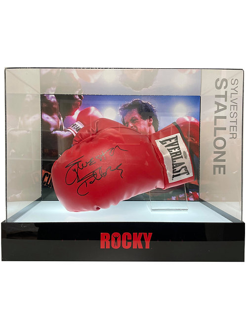 Rocky Boxing Glove in LED Lit Display Case Signed by Sylvester Stallone