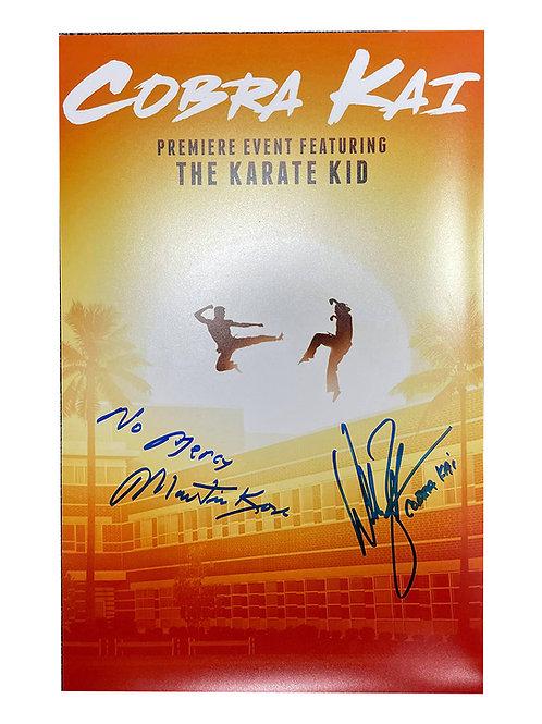 A3 Cobra Kai Poster Signed by William Zabka & Martin Kove