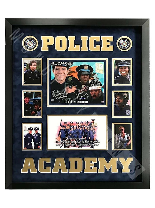 Framed Police Academy Print Signed by Guttenberg, Winslow, Ramsey & Easterbrook