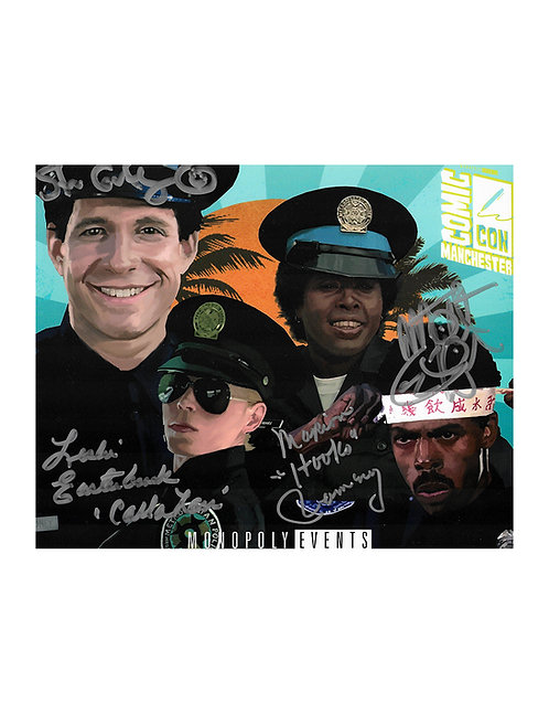 10x8 Police Academy Print Signed by Guttenberg, Winslow, Ramsey & Easterbrook