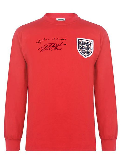 1966 World Cup Replica England Football Shirt Signed & Quoted By Sir Geoff Hurst