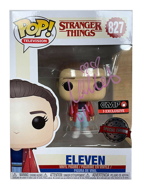 Stranger Things #827 Eleven Funko Pop Signed in Pink by Millie Bobby Brown