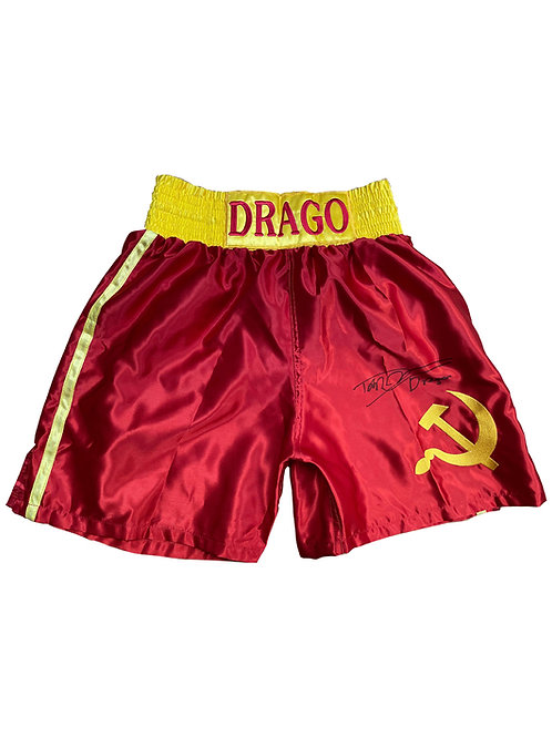 Red Ivan Drago Boxing Shorts Signed by Dolph Lundgren