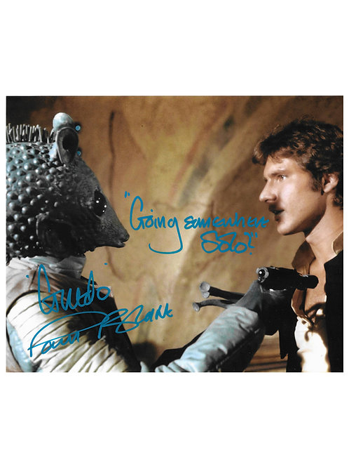 """10x8 Star Wars Greedo """"Going Somewhere Solo?"""" Blue Print Signed by Paul Blake"""