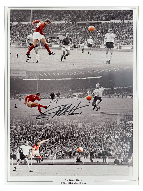 A3 1966 World Cup Hat Trick Print Signed By Sir Geoff Hurst