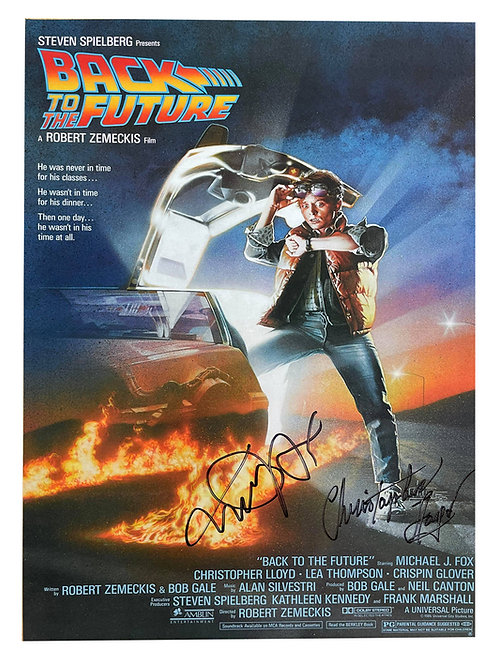 A3 Back to the Future Poster Signed in Black by Michael J Fox, Christopher Lloyd