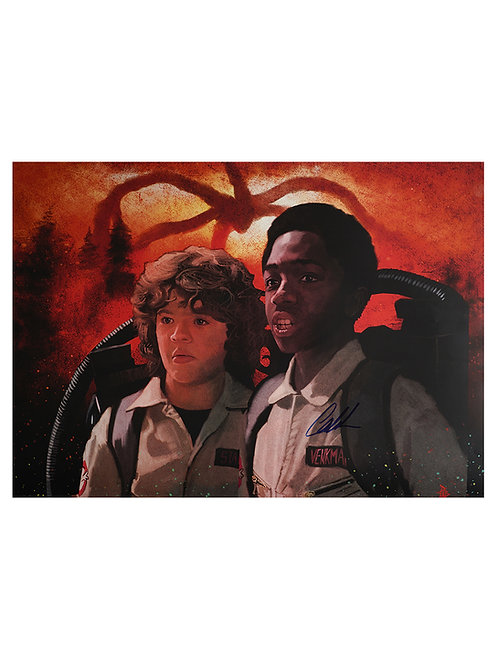 A2 Stranger Things Lucas Illustrated Art Print Signed By Caleb McLaughlin