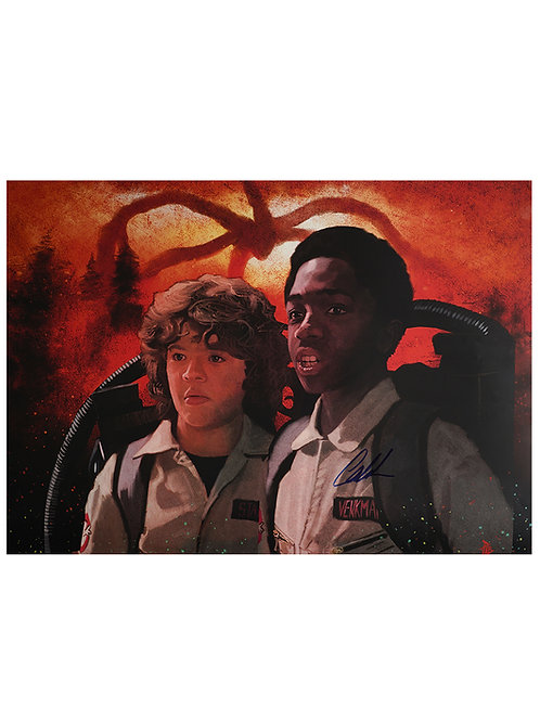 A2 Stranger Things Lucas Illustrated Poster Signed By Caleb McLaughlin