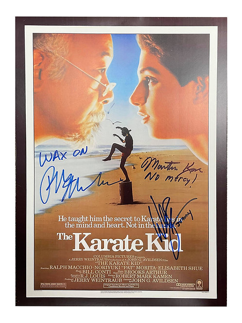 A3 Karate Kid Poster Signed by Ralph Macchio, William Zabka & Martin Kove
