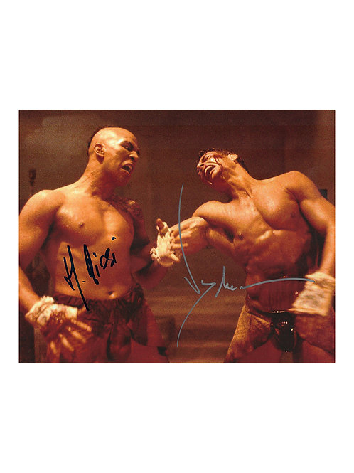10x8 Kickboxer Print Signed by JCVD Jean-Claude Van Damme and Michel Qi