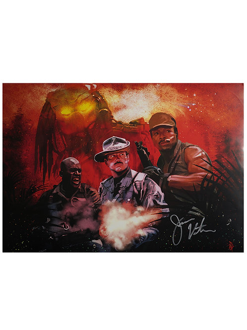 A2 Predator Blaine Illustrated Poster Signed By Jesse Ventura