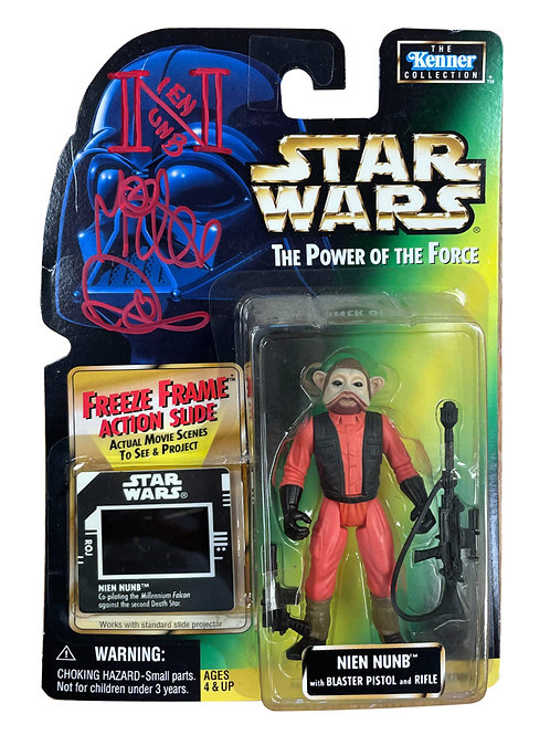 Star Wars Power Of The Force Nien Nunb Action Figure + Slide Signed By Mike Quin