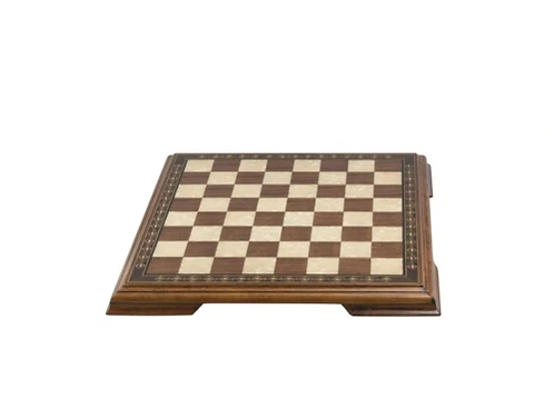 50cm Walnut & Eco Mother Of Pearl Chessboard With Marquetry & Legs