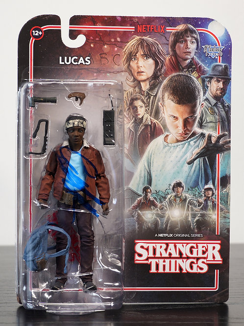 Stranger Things Lucas Packaged McFarlane Figure Signed By Caleb McLaughlin