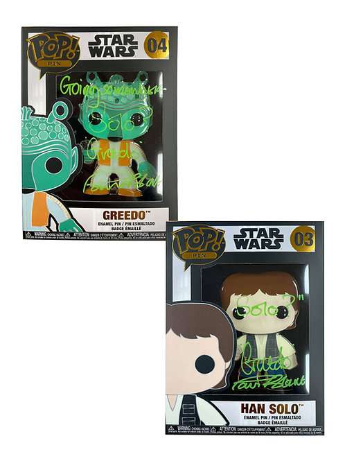 Greedo & Han Solo Star Wars Funko Pop Pin Badges Signed By Paul Blake